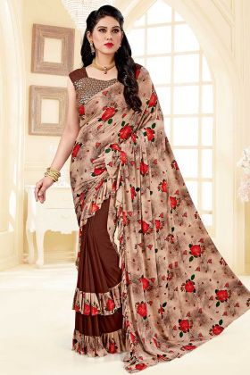 Soft Silk and Lycra Party Wear Ruffle Saree In Brown Color