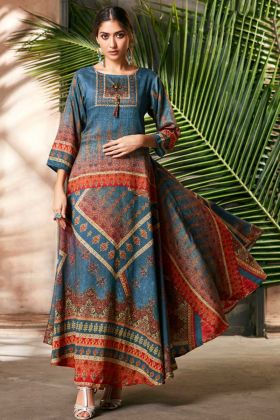 Soft Silk Blue And Multi Color Digital Print Gown