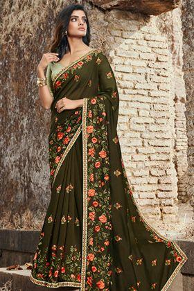 Soft Silk Dark Green Saree With Light Green Art Silk Blouse