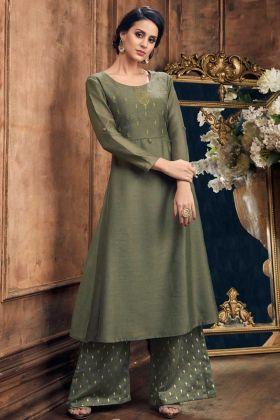 Soft Silk Designer Palazzo Kurti Set Foil Print Olive Green Color