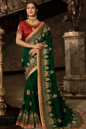 Soft Silk Festival Saree Dark Green Color With Resham Embroidery Work