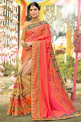 Soft Silk Festival Saree Thread Embroidery Work In Orange and Beige Color