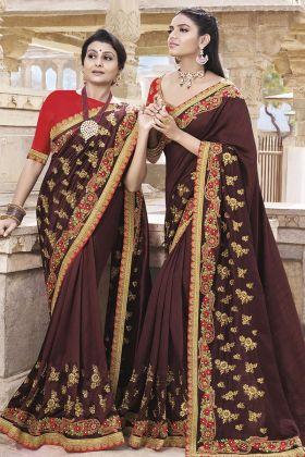 Soft Silk Maroon Wedding Saree