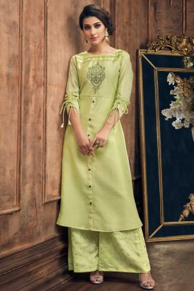 Soft Silk Palazzo Kurti Set Light Green Color With Resham Embroidery Work