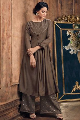 Soft Silk Palazzo Kurti Set Resham Embroidery In Brown Color