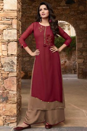 Soft Silk Palazzo Kurti Set Stone Work In Maroon and Light Brown Color