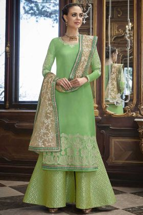 Soft Silk Palazzo Salwar Suit Stone Work In Light Green Color
