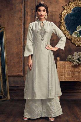 Soft Silk Party Wear Palazzo Kurti Set Grey Color With Jari Work