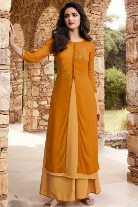 Soft Silk Party Wear Palazzo Kurti Set Musturd Yellow and Occur Yellow Color With Stone Work