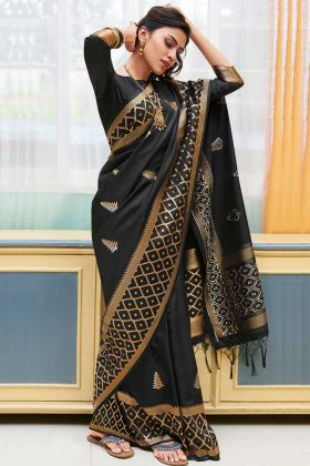 Soft Silk Party Wear Saree Weaving Work In Black Color