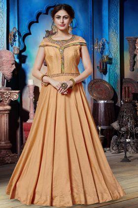 Soft Silk Peach Party Wear Gown