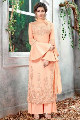 Soft Silk Peach Straight Suit Online