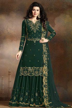 Soft Silk Pine Green Sharara Salwar Kameez