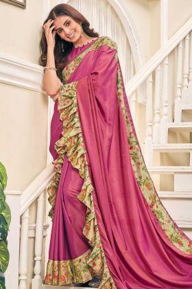 Soft Silk Ruffle Party Wear Saree In Pink Color