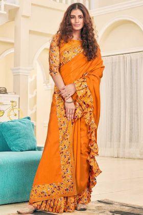 Soft Silk Ruffle Party Wear Saree Orange Color