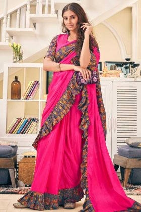 Soft Silk Ruffle Saree Rani Pink Color With Swarovski Work