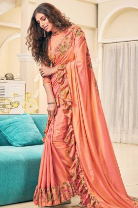 Soft Silk Ruffle Saree Swarovski Work In Peach Color