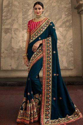 Soft Silk Saree Jari Embroidery Work In Teal Blue Color