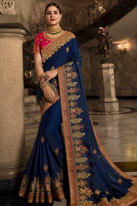 Soft Silk Wedding Saree In Dark Blue Color
