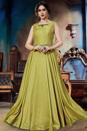 Soft Silk Yellow Party Wear Gown