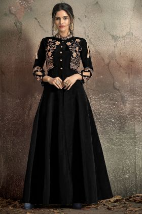 Soft Taffeta Black Color Designer Gown With Stichhed Koti
