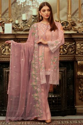 Sophisticated Dusty Pink Colored Partywear Embroidered Faux Georgette Pant Style Suit