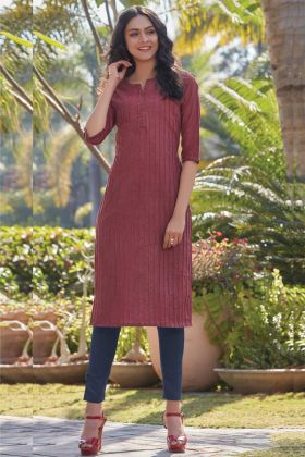 South Cotton Casual Maroon Kurti In Lace Border