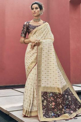 South Marriage In Soft Art Silk Saree In White Color Online