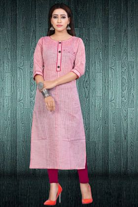 South Cotton Pink Long Kurti
