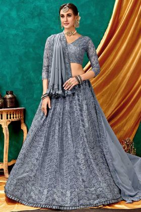 Sparkle Net Grey Bridal Lehenga Designs In Lucknowi Work