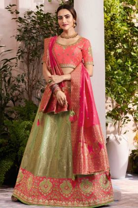 Special Collection Green Embroidery Silk Jacquard Designer Lehenga Choli