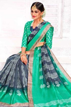 Special Collection Linen Silk Grey Saree Online