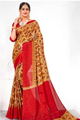 Special Stylish Collection Linen Silk Festival Saree In Brown Color
