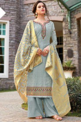Steel Blue Party Wear Tussar Art Silk Salwar Suit