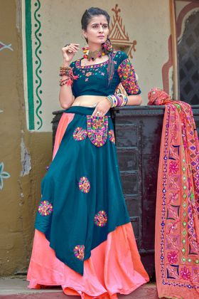 Steel Green and Pink Soft Cotton Navratri Chaniya Choli