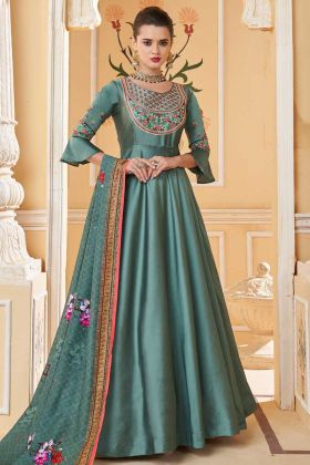Steel Green Color Heavy Soft Silk Gown Style Anarkali Dress