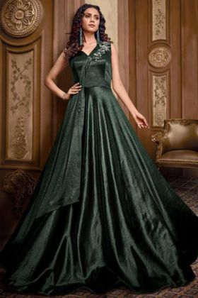 Steel Green Party Wear Net Anarkali Gown With Heavy Embroidered