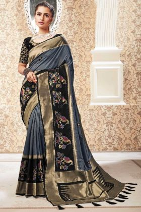 Stone Grey Party Wear Banarasi Pure Silk Saree