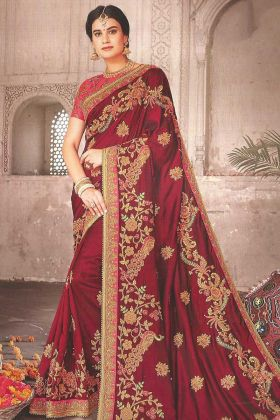 Stone Work Art Silk Designer Saree In Maroon Color