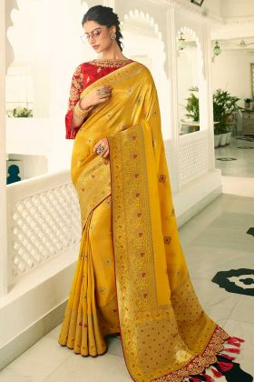 Stone Work Banarasi Silk Banarasi Saree In Mustard Color