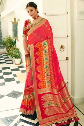 Stone Work Banarasi Silk Festival Saree In Pink Color
