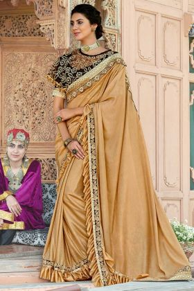 Stone Work Beige Color Lycra Party Wear Ruffle Saree