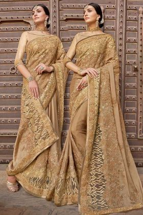 Stone Work Beige Color Silk Georgette Wedding Saree