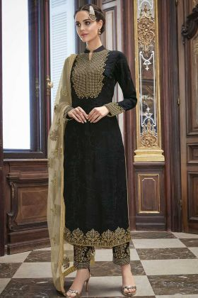 Stone Work Black  Color Soft Silk Pant Style Salwar Suit