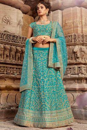 Stone Work Blue Silk Wedding Lehenga For Bride