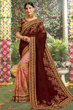 Stone Work Brown and Pink Color Art Silk Designer Saree