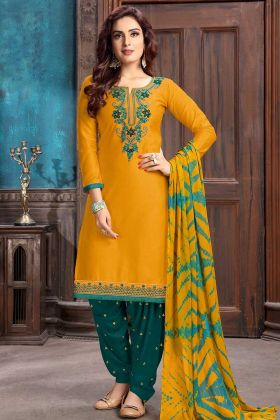 Stone Work Cotton Satin Patiala Salwar Kameez In Musturd Yellow Color
