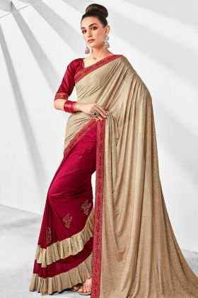 Stone Work Cream and Dark Pink Lycra Designer Ruffle Saree