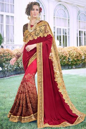 Stone Work Fancy Fabric Designer Saree In Multi Color