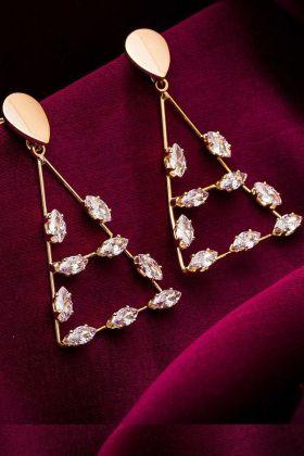 Stone Work Golden Earrings Set